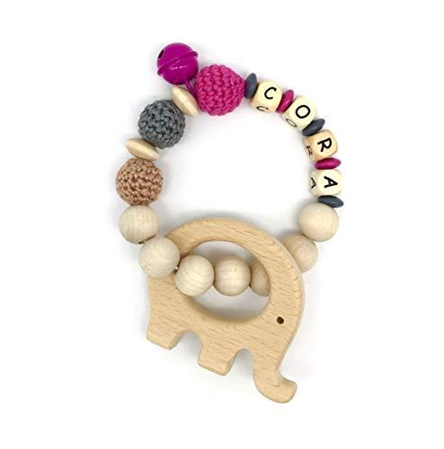 Greifling mit Beißanhänger Elefant, Holz, mit Glöckchen, mit Namen für Mädchen, pink, personalisierbar !