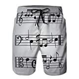 LJKHas232 Casual Sport Swim Trunks Ropa de Playa Shorts de Playa para Hombres Black Music Sheet Note Icons Set eps XXL