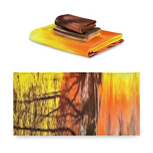 Juego de toallas de 3 piezas, pintura al óleo de puesta de sol fría, ilustración digital, juegos de toallas de baño, 1 toalla de baño, 1 toallita, 1 toalla de mano, multifunción suave para el hogar,
