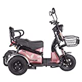 XGYUII 3-Wheeled Electric Mobility Scooter, Powered Mobile Wheelchair Device, 3-Speed Adjustment 600W Motor, for Elderly/Disabled/Adults,Pink