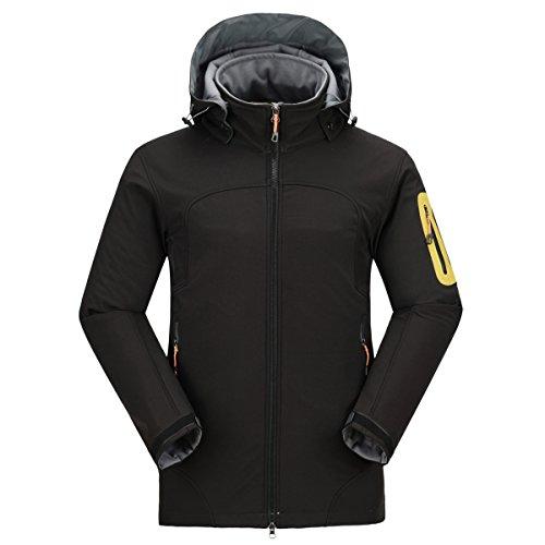 emansmoer Homme Veste Softshell Doublé Polaire Coupe-Vent Imperméable Outdoor Sport d'escalade Camping Randonnée Manteau (XX-Large, Noir)