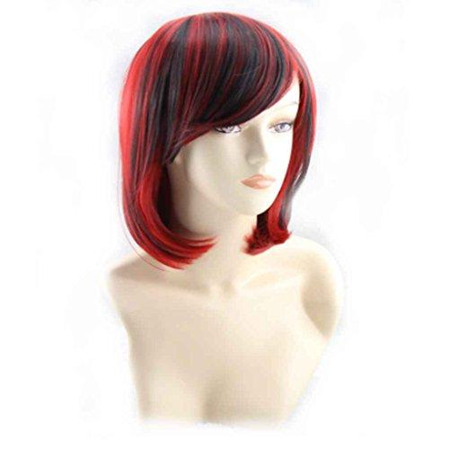 Xuanhemen Womens Lady Short Straight Gradient couleur perruque en fibre synthétique pour la fête de la robe quotidienne