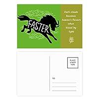 黒い馬動物のシルエットのナチュラル 詩のポストカードセットサンクスカード郵送側20個