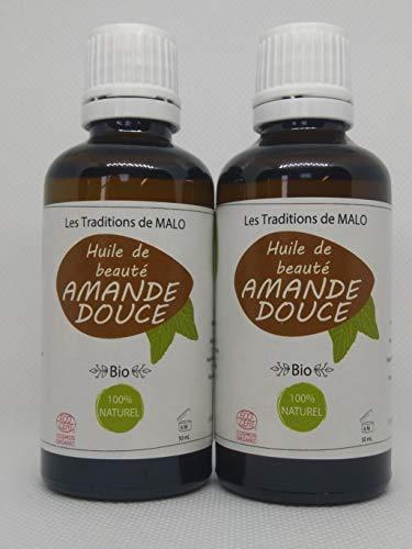 Huile BIO AMANDE DOUCE - Hydratante, calme les irritations et démangeaisons de la peau - Conseillée sur les vergetures et les rides- Les TRADITIONS de MALO Coffret 2 Flacons 50 ml.