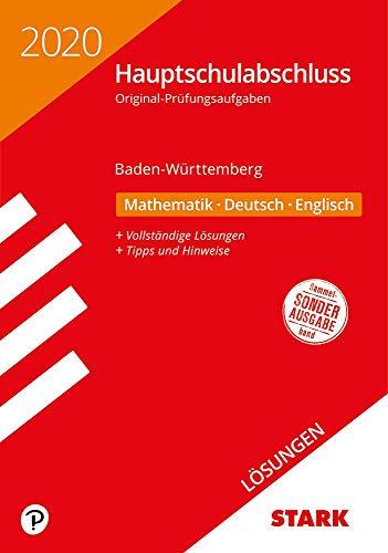 STARK Lösungen zu Original-Prüfungen Hauptschulabschluss 2020 - Mathematik, Deutsch, Englisch 9. Klasse - BaWü