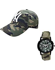 faas Military Baseball Cap,& Watch Combo for Men & Boys.(Pack of 2) Green