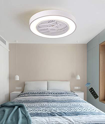 CAGYMJ Ventilador de Techo con lámpara, LED luz del Ventilador, 3 Velocidades, 3 Colores Regulables, con Control Remoto Inteligente, 60W Lámpara de Techo para Sala de Estar del Dormitorio,Blan