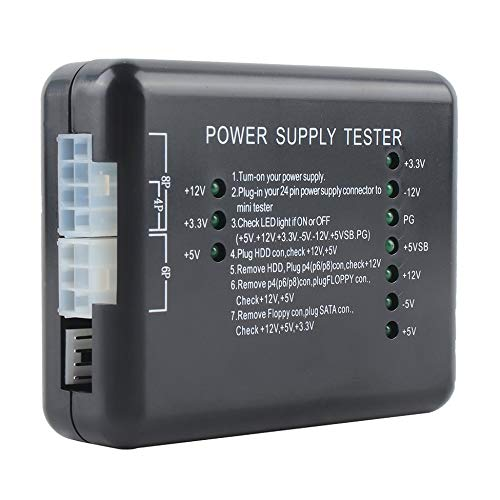 Triamisu Fuente de alimentación LED 20/24 Pin para PSU ATX SATA HDD Tester Checker Meter PC Probador de computadora para PC-Power - Negro