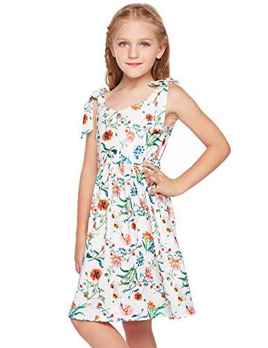 trudge Mädchen Blumen Bedruckte Kleider Schultergurte Bowknot Kinder ärmelloses Strand Mini Sommerkleid Gr. 110-140