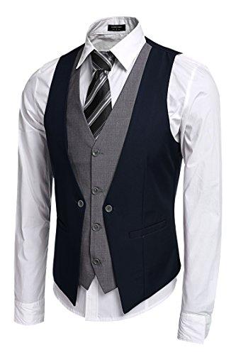 Zeagoo Coofandy Men's V-neck Sleeveless Slim Fit Jacket Business Suit Vests, Blue, Large