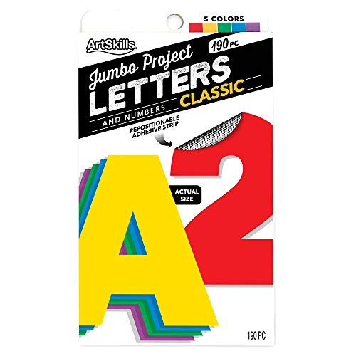 """ArtSkills Jumbo 4"""" Sticky Primary Color Poster Letters and Numbers, 190 Pieces"""