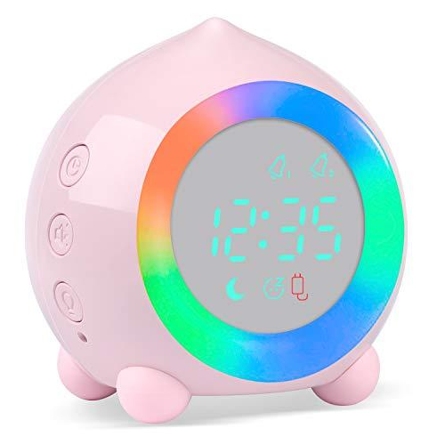 PROKING Reloj Despertador Infantil Digital, Despertador Digital Simulador de Amanecer Despertador para Niñas Niños con Luces Colores y Lámpara de Luz Nocturna...
