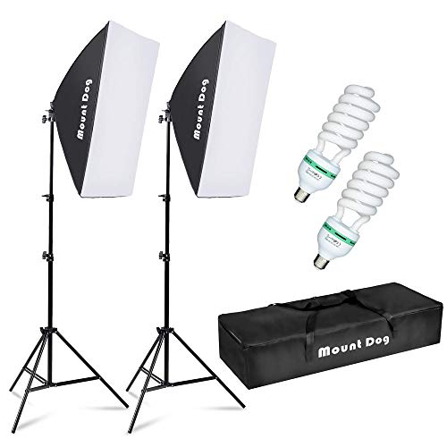 MOUNTDOG Softbox Lighting Kit Photography Studio Light 20quotX28quot Professional Continuous Light System with E27 95W Bulbs 5500K Photo Equipment for Filming Model Portraits Advertising Shooting
