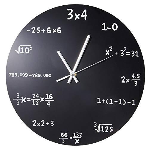 WH Wandklok, uniek elk uur gemarkeerd door een eenvoudige wiskundige vergelijking, 16inch