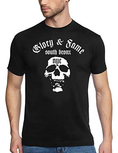 Coole Fun T-Shirts South Bronx NYC t-Shirt Skull Deadhead, schwarz/Weiss, Grösse: L