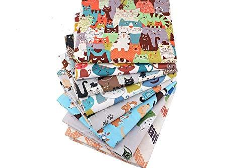 8 Orginales gatos y perros para cojines, vestidos, costura, colchas, toallas, banderines, caravanas, guirnaldas, manualidades, patchwork, costura 40 x 50 cm de CHIPYHOME