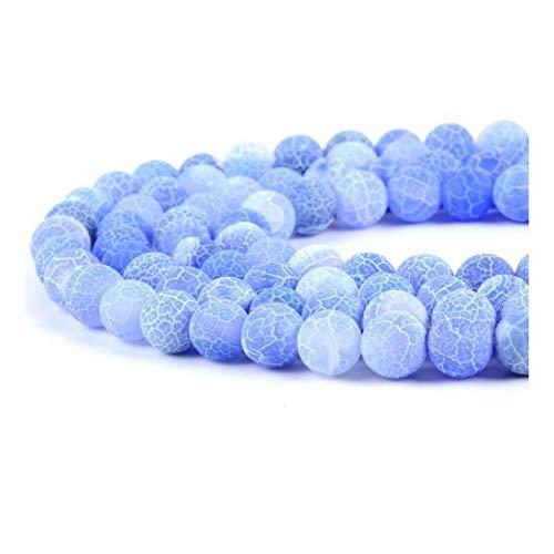 HONGTAI Mezcla De Piedra Natural Mate Helada Cracked Verde Violeta Azul Agates Cuentas Haciendo Onyx Cuentas De Collar Pulsera (Color : Light Blue, Size : 12mm Approx 30pcs)