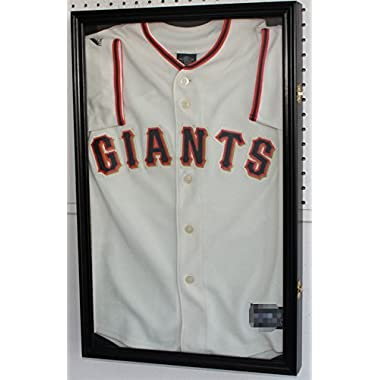 25  H X 16  SMALL Boy's Size Sport Jersey Display Case Shadow Box Cabinet (Black Finish)