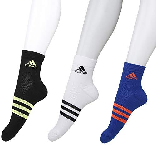 Adidas Men's Ankle Length Cotton Socks (Pack of 3) (AD3635-CD7362-1_Royal Blue, White & Black)