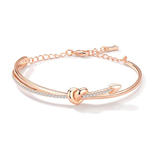 KIMILILY Rose Gold Adjustable Bangles Bracelet Jewellery for Women with Swarovski Crystals Gifts for Women Girls friendship Ladies Jewellery Gifts Mum Birthday Gifts Box Packing
