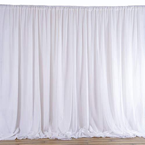 "AK Trading 115"" x 120"" White Chiffon Drapes Panels for Wedding Events & Decor- Backdrop Draping Curtains"