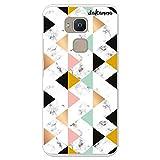 dakanna für [Bq Aquaris V Plus - VS Plus Flexible Silikon-Handy-Hülle [Transparent] Schwarz-weißer Marmordruck mit geometrischen Figuren Design, TPU Hülle Cover Schutzhülle für Dein Smartphone