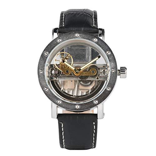 Leder-Automatik-Mechanische Skelett-Uhr für Herren, wasserdichte Handaufzug-Armbanduhr, Schwarz