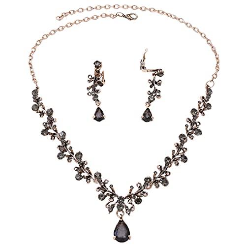 Zhantie - Aleación de hoja de diamantes de imitación de circonio elegante conjunto de joyería de lujo de la boda nupcial pulsera conjunto para las mujeres collar pendiente conjunto