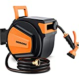 """HIMIMI Automatic Retractable Garden Hose Reel, 1/2""""x 65+ 6FT Hose, Heavy Duty Wall Mounted Hose Reel, 8 PatternNozzle/Brass Connector/Any Length Lock/Auto Rewind/180° Garden Watering, Car Washing"""