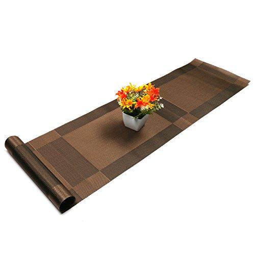 U'Artlines Chemin de Table tressé en Vinyle antidérapant Isolation Thermique Lavable 30x180cm(Chemin de Table,Brun)