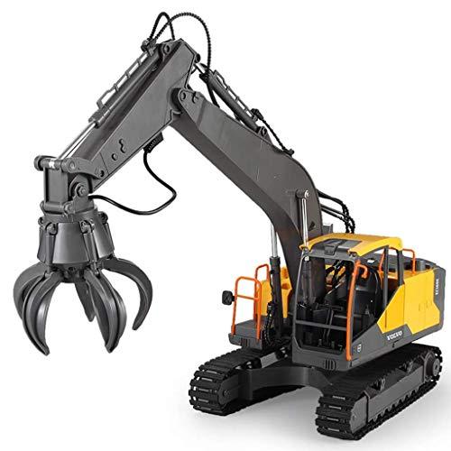 BPDD 1:16 Toy Car RC Excavator 3 en 1 Construction Truck, Excavadora de Control Remoto con 2 Herramientas adicionales, Excavadora de Juguete de Control Remoto para niños y niñas de 8 años Regalos