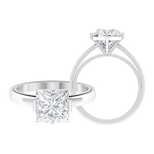 Anillo de compromiso de corte princesa, anillo de boda único, D-VSSI 2.7 CT 8 MM, anillo de moissanite solitario, anillo de oro de dos tonos, anillos de declaración, 10K Oro blanco, Size:EU 49