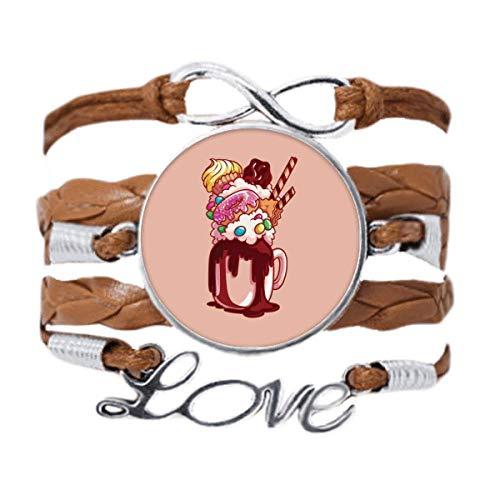 DIYthinker Donut Copa de helado de chocolate, pulsera de cadena de amor, adorno de cuerda de regalo