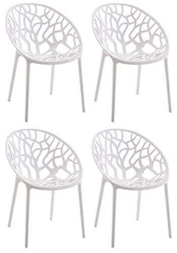 CLP 4er-Set Gartenstuhl Hope Aus Kunststoff I 4 x Wetterbeständiger Stapelstuhl Mit max 150 KG Belastbarkeit, Farbe:weiß