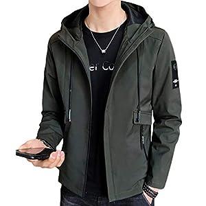 EASTEMPO ジャケット メンズ 長袖 無地 春秋 カジュアル おしゃれ 軽量 おおきいサイズ (グリーン, XXL)