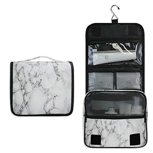 AUUXVA Travel Hanging Toiletry Bag Geometric Marble Texture Pattern Portable Cosmetic Make up Bag case Organizer Wash Gargle Bag Waterproof with Hook for Women Men for Cosmetics and Toilet Accessories
