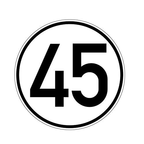 Geschwindkeitsaufkleber 45 km/h | Hinweis nach § 58 StVZO | Selbstklebend Folie für Fahrzeuge & Anhänger | 200 mm | PlottFactory