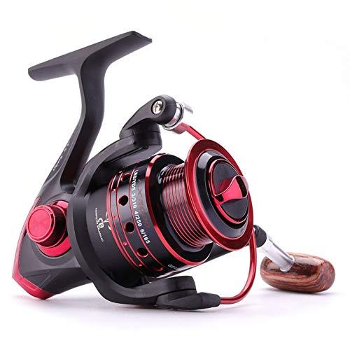 QPLKL Carretes Rollo de Pesca de Hilado 12BB + 1 Bolas de rodamiento 500-9000 Series Metal Bobina de Metal Spinning Reel Boat Rock Wheel (Bearing Quantity : 13, Color : Red)