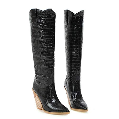 Womens Western Knee High Boots Crocodile Wedge Heel Pointed Toe Pull On Cowboy Boots Black