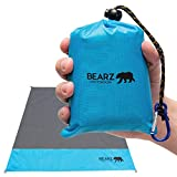 BEARZ Outdoor Beach Blanket, Waterproof Picnic Blanket 55″x60″ - Lightweight Camping Tarp, Compact Pocket Blanket, Festival Gear, Sand Proof Mat for Travel, Hiking, Sports - Packable w/Bag (Blue)