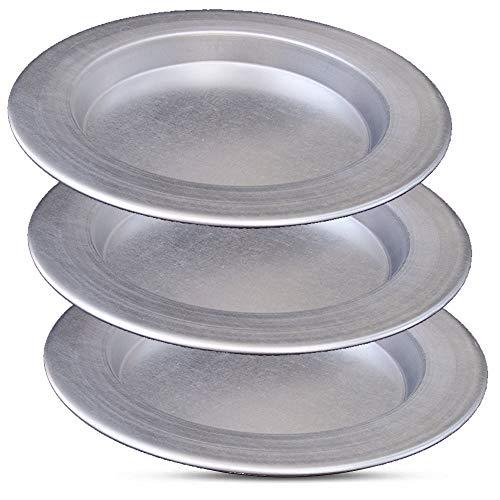 Frigya Kunefe Teller – Koch- und Servierplatten für geschredderte Kadaifi, Kunafa Knafe Knafeh Phyllo, Fillo Teigpfanne – Set mit 3 silberfarbenen Aluminium-Pfannen (kompatibel für gefrorene Kunefe)