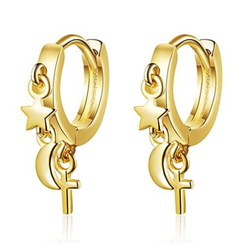 YONGYAN Long Earrings for Women Small Star and Moon Ear Buckle Female Korean Fashion Short Earrings (Color : A)