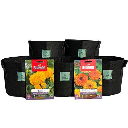 KliKil Maceta Bolsas de Cultivo - Kit 5 macetas geotextiles y Bolsas de Semillas Flores Blumen de Cosmos y Milenrama. Ideal para Plantas en terraza. Kit huerto Urbano para Exterior y Interior.