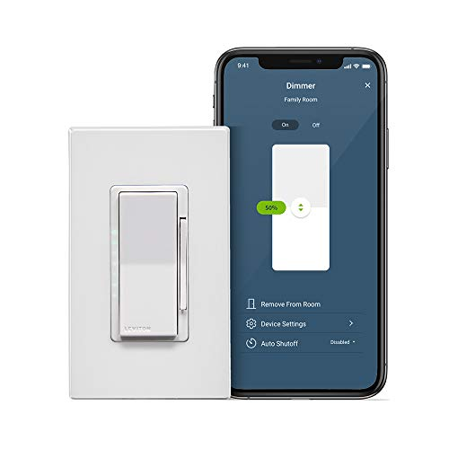 Leviton D26HD-2RW Decora Smart Wi-Fi Dimmer (2nd Gen), Works with Hey Google, Alexa, Apple HomeKit/Siri, and Anywhere Companions, No Hub Required, Neutral Wire Required, White