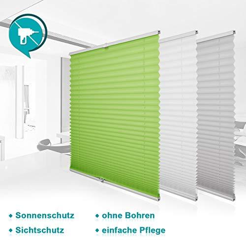 Homland Plissee Rollos für Fenster und Tür ohne Bohren Grün 80x120cm Plisseerollo Klemmfix Jalousien Easyfix Faltrollo Lichtdurchlässig und Blickdicht Sicht-und Sonnenschutz