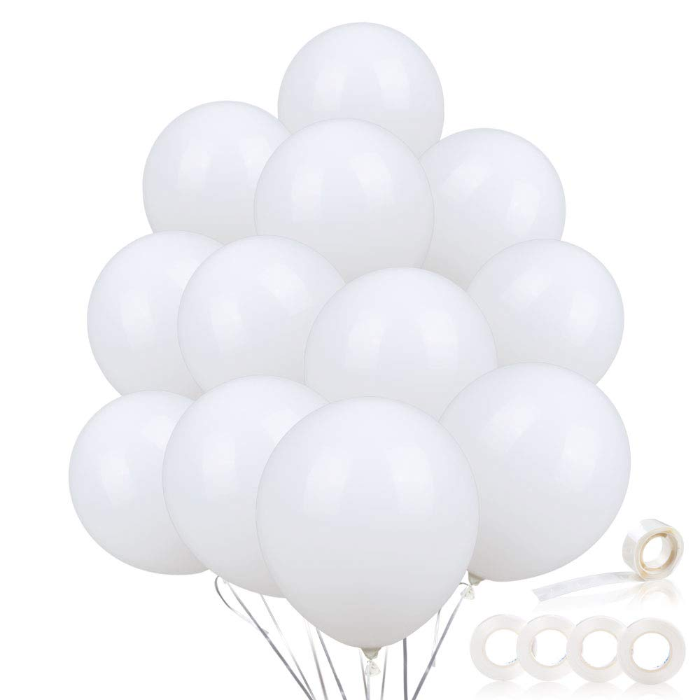 110PCS Premium White Balloons w/Ribbon and Glue Points, Latex Party Balloons, 12 Inches Balloons Bulk, White Helium Balloons for Wedding Birthday Bridal Baby Shower Party Supplies and Arch Decorations