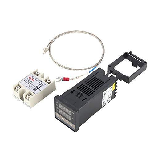 Exanko Kit de Controlador de Temperatura PID Digital Pantalla Digital Dual Termostato REX C100 + Relé SSR 40Da + Sensor de Sonda Tipo K
