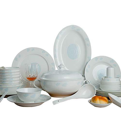 MMFXUE Servizio da tavola 58 Pezzi Set da tavola in Porcellana Bianco Avorio , Set da Pranzo , Piatti in Ceramica , Set di Piatti , Set da Pranzo in Ceramica , Ciotole