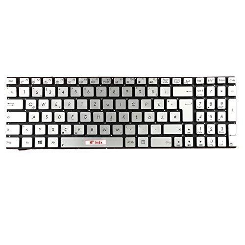Deutsche Tastatur - mit Beleuchtung, ohne Rahmen: Farbe - Silber - für Asus N56VV, N56VZ, N750, N750J, N750JK, N750JV, N750VB, N750VW, N76