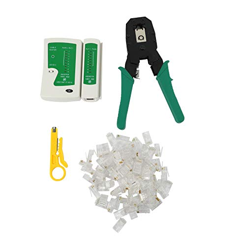 SNOWINSPRING Kit De Red Ethernet LAN 4 En 1 Probador De Cables + Alicate De Engarce Arrugador + Estriptista De Cable + 100X Rj45 Cat5 Cat5E Enchufe Conector Herramienta De Red